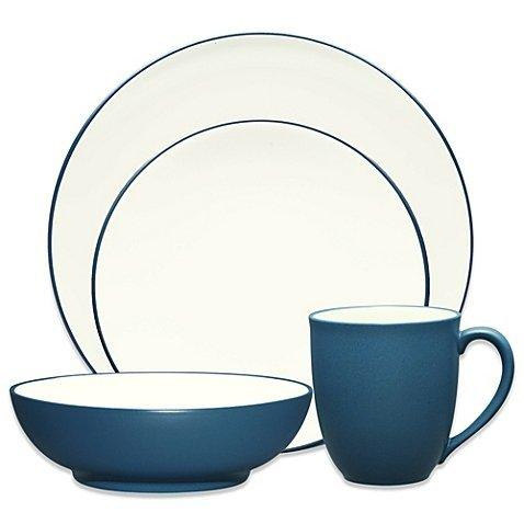 Noritake Modern Simple Chic Colorwave Coupe Perfect Wonderful Splash Stoneware Microwave Dishwasher Safe Imported Dinnerware 4-Piece Place Setting, Blue ()