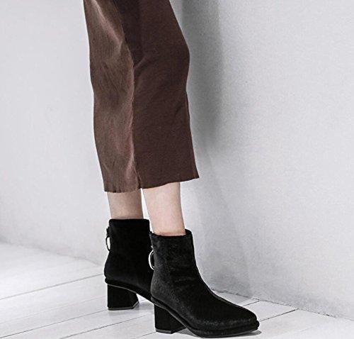 de cortas metal y black mujeres KHSKX de calzado de y británicas desnuda mujer botas Velvet tacon femenino botas hebilla botas cierre cremallera PqP1xUtw7