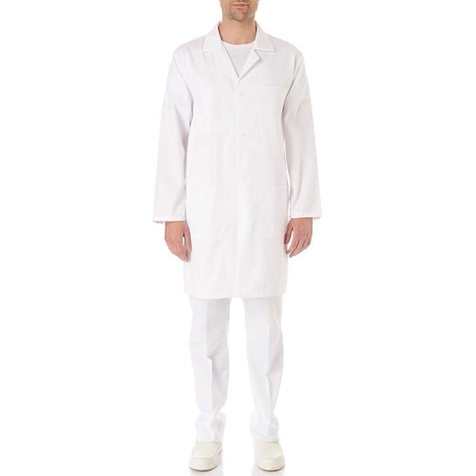 Bata química para laboratorio, 100% algodón, unisex, manga larga, para adulto/estudiantes, color blanco: Amazon.es: Ropa y accesorios