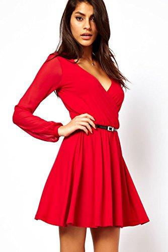Nuevas señoras rojo Wrap Skater vestido Club Wear Evening fiesta verano vestidos cóctel fiesta Prom Vestido Talla m 10–�?2