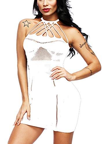 Woosifun Women Fishnet Lingerie See Through Sleepwear V-Neck Babydoll One Piece Mini Dress One Size