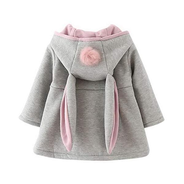 Odziezet Cappotto con Cappuccio Coniglio da Bambina Giacca Incappucciato per Inverno Autunno 0-6 Anni 1