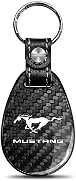 iPick Image for Ford Logo Real Black Carbon Fiber Large Tear Drop Key Chain
