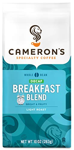 Cameron's Coffee Roasted Whole Bean Coffee, Decaf Breakfast Blend, 10 Ounce