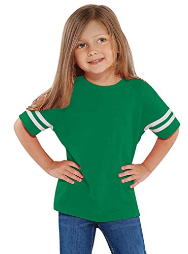 Rabbit Skins 100% Cotton Blank Toddler Football Jersey Tee [Size 5/6T] Green/White Short Sleeve T-Shirt