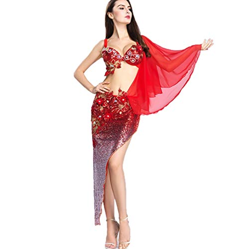 Per Wqwlf A Filato Da l Spalla Ventre Paillettes Danza Red Del Donne M Competizione Prestazione Ricamato Chiffon Vestito Con Di Reggiseno Costume wXqrxAX