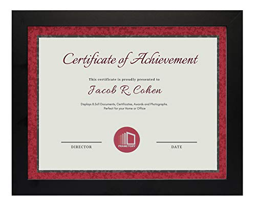 - Frametory, Document/Diploma Table-Top Frame for 8.5x11 Picture & Real Glass (Black)