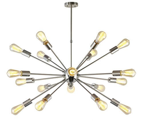 VINLUZ Sputnik Chandelier Brushed Nickel 18 Lights Modern Pendant Lighting Large Industrial Ceiling Light Fixture UL Listed