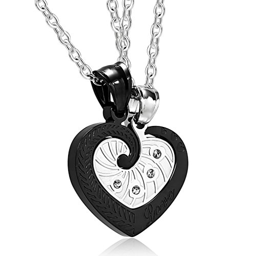 [Aooaz Stainless Steel Pendant Necklace for Couple CZ Heart Pendant Necklaces Black Silver Wedding] (Gypsy Costume Couple)