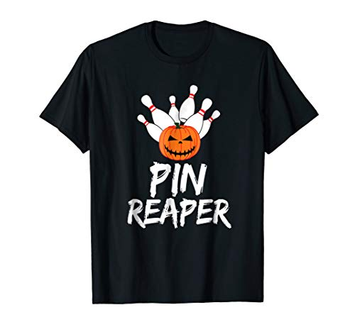 Pin Reaper Halloween Pumpkin Funny Bowling T-Shirt]()