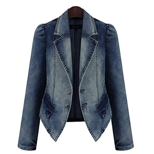 TEVEQ Plus Size Jacket Fashion Lapel Women Casual Denim Zipper Blazer Vintage Coat Outwear