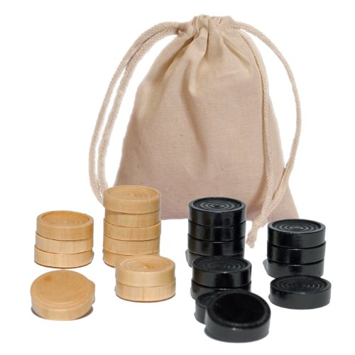 Natural Wood Chess - WE Games Checkers Pieces in Black and Natural Wood - 1.5 in. Diameter