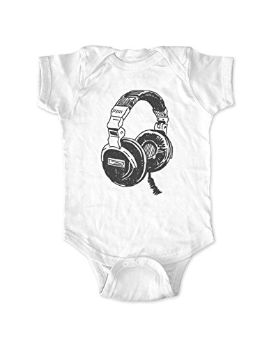 cute & funny - Headphones (design21) DJ Music Retro - Baby Birth Announcement Bodysuit Gift (White, 12 Months -
