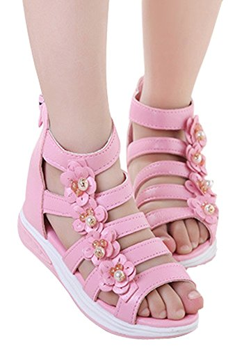 Pink High Top, Back Zipper, Flower, Gladiator Sandals