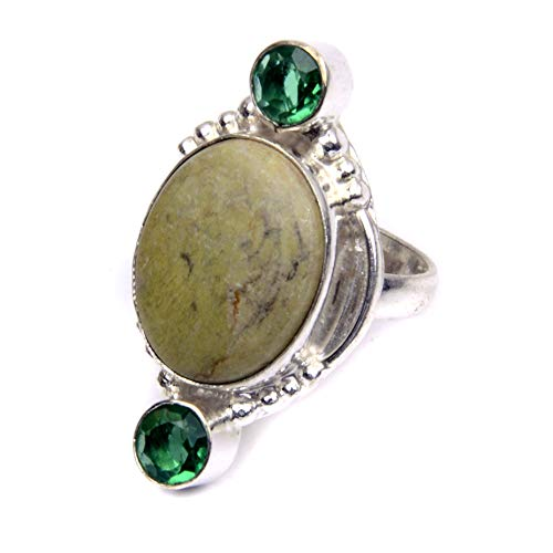 - Nimbark Handcrafted Jasper and Green Tourmaline Silver Plated Jewelry Ring 7''