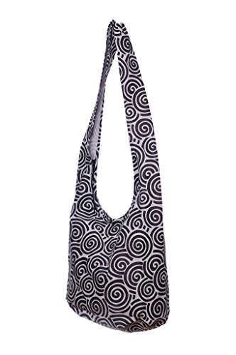 Hippie Bohemian Thai Avarada Sling Spiral Messenger Black Gray Hobo Purse Cotton Crossbody Bag Efqz6qAFx