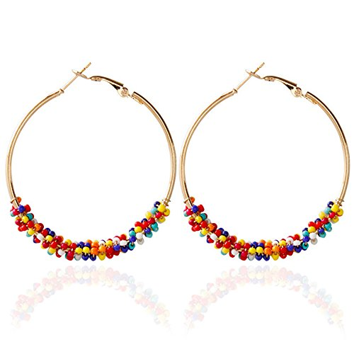 ZRDMN European and American fashion Bohemia national wind series multi-color rice pearl exaggerated color circle Jewelry Earrings Water Drop Pendant Stud Earrings for (Rice Pearl Swarovski Bracelet)