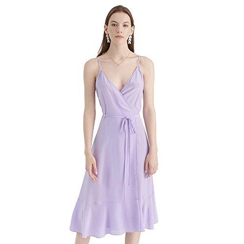 Wickel Lila Seide Partykleider Bezaubernd Damen LilySilk Lang aus Seidenkleid Trägerkleider Midi vw5A5gFq1