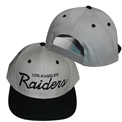 Los Angeles Raiders Grey / Black Plastic Snapback Adjustable Plastic Snap Back Hat / Cap by Reebok Licensed Division