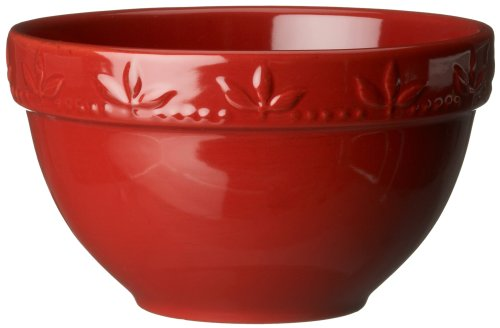 Signature Housewares Sorrento Collection 30-Ounce Utility Bowl, Ruby Antiqued Finish - Italian Kitchen Mixing Bowl