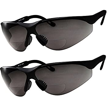 f19254bad396 2 Pairs Bifocal Safety Sunglasses Black Lens with Reading Corner - Fully  Adjustable Arms Diopter +1.50