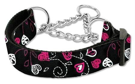 Mirage Pet Products Martingale Crazy Hearts Nylon Collars, Large, Black