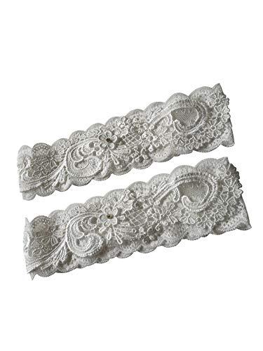 (YuRongsxt Bridal Garters with Rhinestones Stretch Lace Wedding Bridal Garter Sets Flower Floral Design)