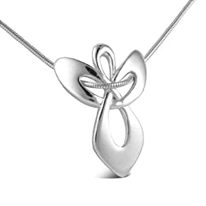 """Loving Family Sterling Silver Guardian Angel Pendant Necklace - 20"""" Long"""