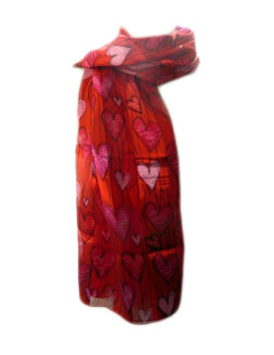 New Company Womens Valentines Day Hearts Scarf - Red - One Size (Hearts Ladies Scarf Valentine)