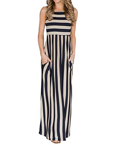 Nulibenna Womens Striped Sleeveless High Waist Beach Maxi Tank Dress Pockets
