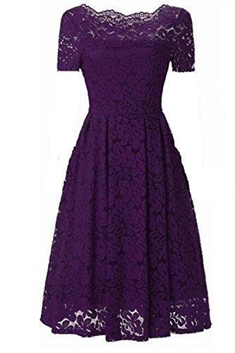 (Aibwet Women's Vintage Dresses Floral Lace Short Sleeve Boat Neck Off-The-Shoulder Cocktail Formal Swing Dress (L, Purple-S) )