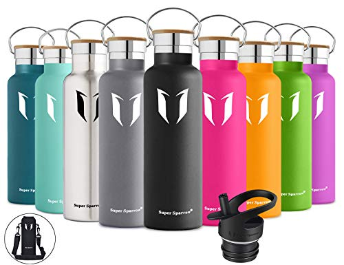 Super Sparrow Stainless Steel Vacuum Insulated Water Bottle, DStandard Mouth -350ml-620ml- 500ml & 750ml & 1L - BPA Free - with 2 Exchangeable Caps + Bottle Pouch (Black, 620ml-21oz) ()