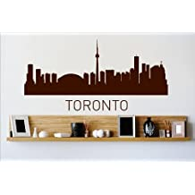 Decal - Vinyl Wall Sticker : Toronto Ontario Canada CA Skyline City View Beautiful Scene Landmarks, Buildings & Water Bedroom Bathroom Living Room Picture Art Peel & Stick Mural Size : 8 Inches X 30 Inches - 22 Colors Available