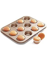 Chef Made Non-stick Bakeware 12-Cup Mini Muffin Pan, Golden