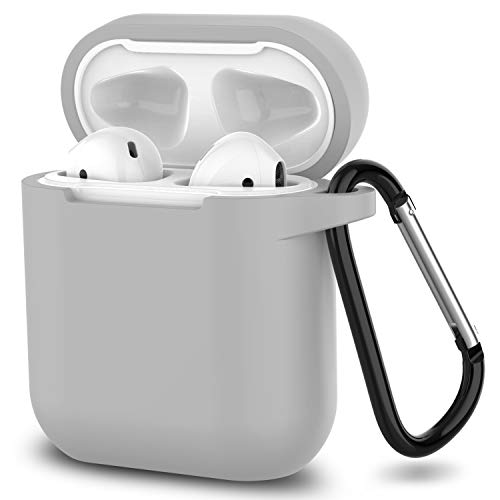 AirPods Case,SATLITOG Protective Silicone Cover Compatible with Apple AirPods 2 and 1(Not for Wireless Charging Case)(Gray)