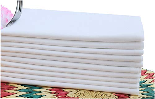 Linen Clubs Cloth Dinner Napkins Optical White Color -100% Cotton,Set of 12 Pieces,Over Sized 20x20Inch Mitered Corner Finish for Every Day Use
