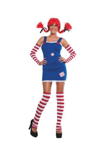 [Starline Women's Sexy Long Stockings Costume with Wig, Blue, Small] (Pippi Longstocking Costumes)