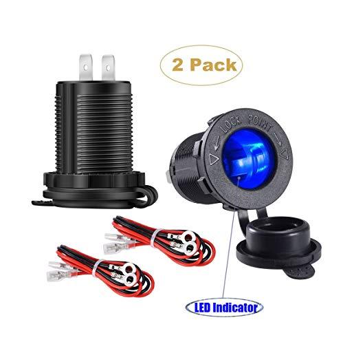 - YonHan Cigarette Lighter Socket with LED Indicator, Waterproof Cigarette Lighter Power Supply Outlet Adapter for (12V DC) Car Marine Motorcycle