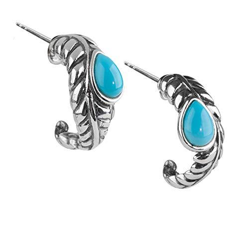 American West Sterling Silver Multi Gemstone Choice of 4 Colors Leaf Hoop Earrings