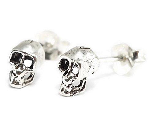 925 Sterling Silver Earring Black Oxidized Skull (1 Pair)