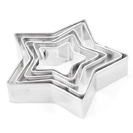 Aço inoxidável DealMux Liga de alumínio estrela Cookie Cutter Mold Bolo de 5 Pcs