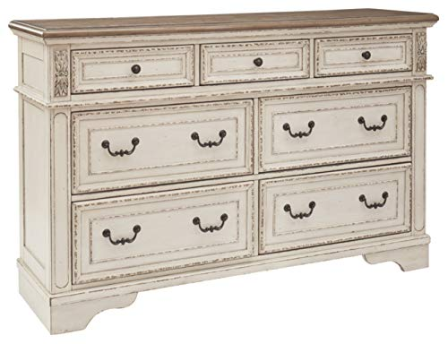 Signature Design by Ashley B743-31 Realyn Dresser Chipped White (Dressers Distressed Bedroom)