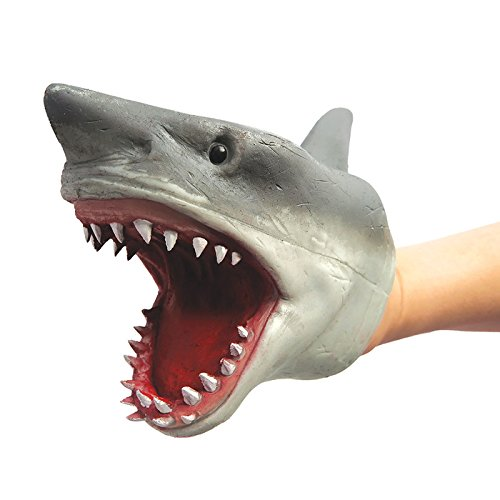 SHARK HAND PUPPET Soft Stretchy Rubber Jaws Baby Shark Song