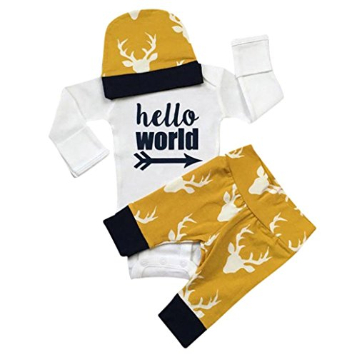 Yellow Tuxedo Top Hat (3PCS Baby Outfits Set, Misaky Tops Romper+Long Pants+Hat Set (24M, Yellow))