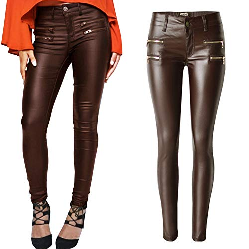 - PU Leather Pants for Women Sexy Tight Stretchy Rider Leggings Coffee US 8