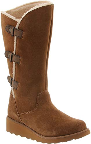 BEARPAW Women's Hayden Boot Hickory II Size 7 B(M) US (Wedge Suede Sheepskin Womens)