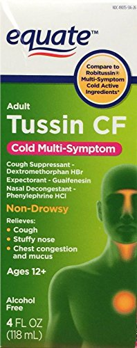 Equate - Tussin CF - Compare to Robitussin CF - Cough & Cold Syrup, 8 Fluid (Tussin Cough Syrup)