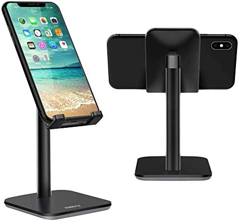 NULAXY [Upgraded Version Phone Stand, Adjustable Mobile Phone Desk Holder, Cradle, Dock, Cell Phone Stand compatible with iPhone Xs Xr 8 X 7 6 6s Plus SE 5 5s 5c, All Smartphones-Black