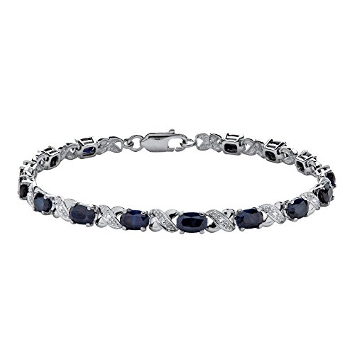 Diamond Accent Sapphire Bracelet - Platinum over Sterling Silver XO Bracelet (4.5mm), Genuine Blue Sapphire and Diamond Accent, 7.5