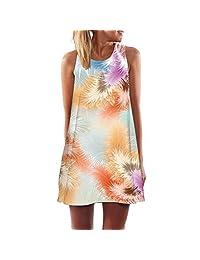 S.Charma Women's Boho Damask Printed Tank Mini Dress Summer Beach Short Sundress